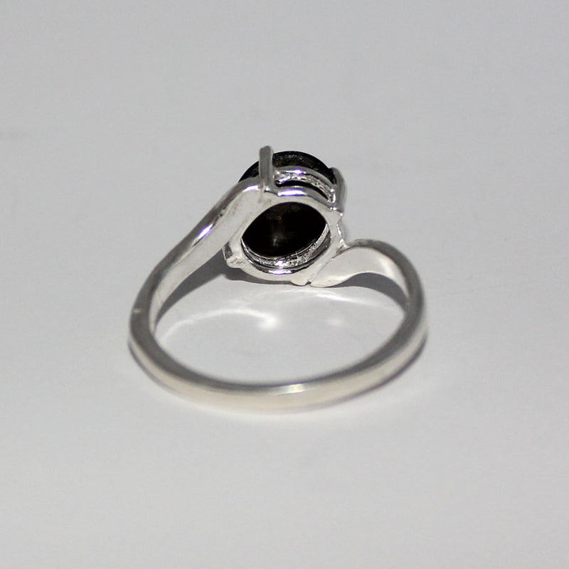 Black Star Sapphire Ring 925 Sterling Silver / Bypass-Style