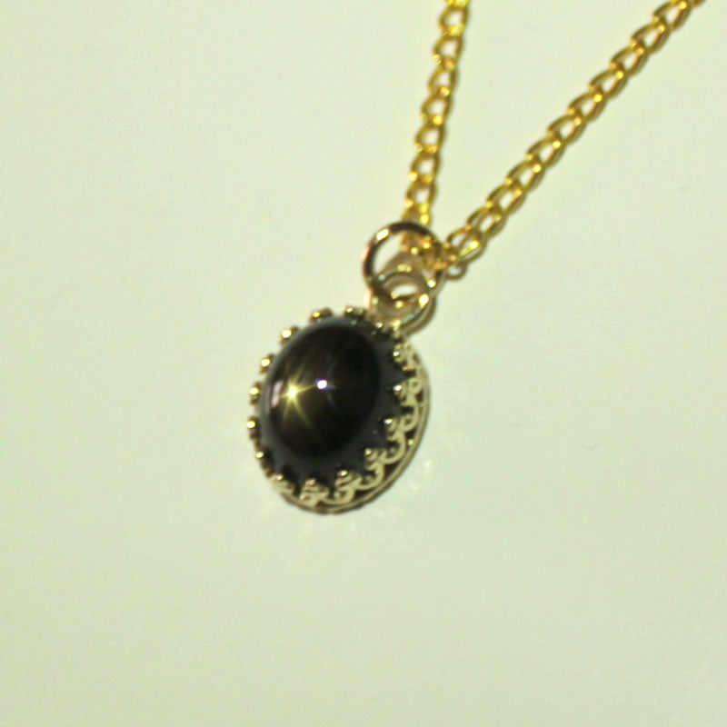 Genuine Black Star Sapphire Necklace Solid 14K Yellow Gold / Pendant