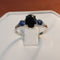 Natural Black Spinel Ring 925 Sterling Silver / Blue Sapphire Accents