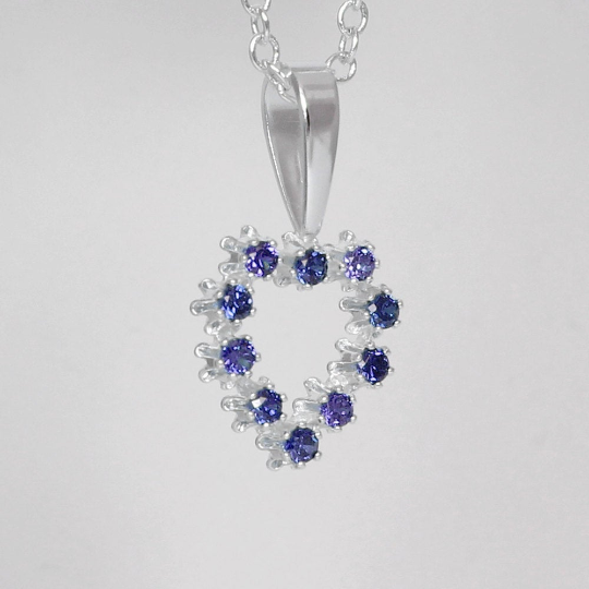 Blue Sapphire Necklace 925 Sterling Silver / Heart-Shaped Pendant