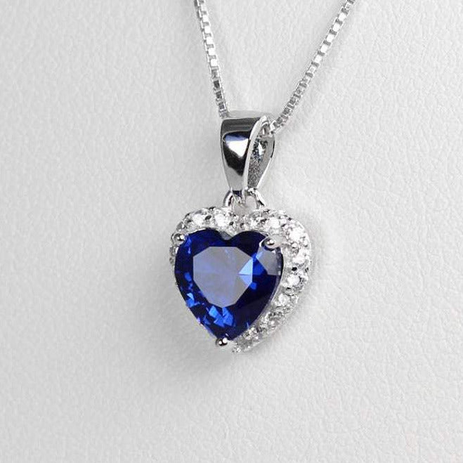 Blue sapphire necklace sterling silver