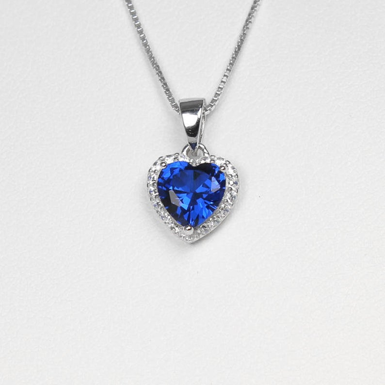 Blue Sapphire and Diamonds Necklace 925 Sterling Silver / Heart-Shaped Pendant