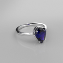 Blue Sapphire Ring 925 Sterling Silver / Pear-Shaped