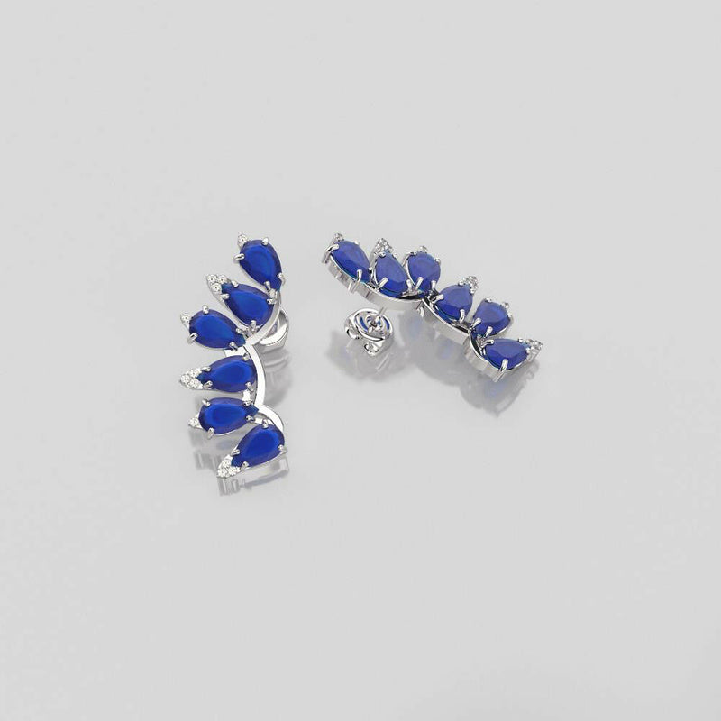 Blue Sapphire Stud Earrings 14K White Gold-Filled / Wing-Style