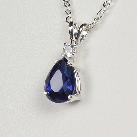 Ceylon Blue Sapphire Necklace 925 Sterling Silver