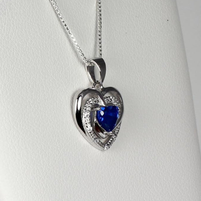 Blue sapphire necklace sterling silver heart-shaped