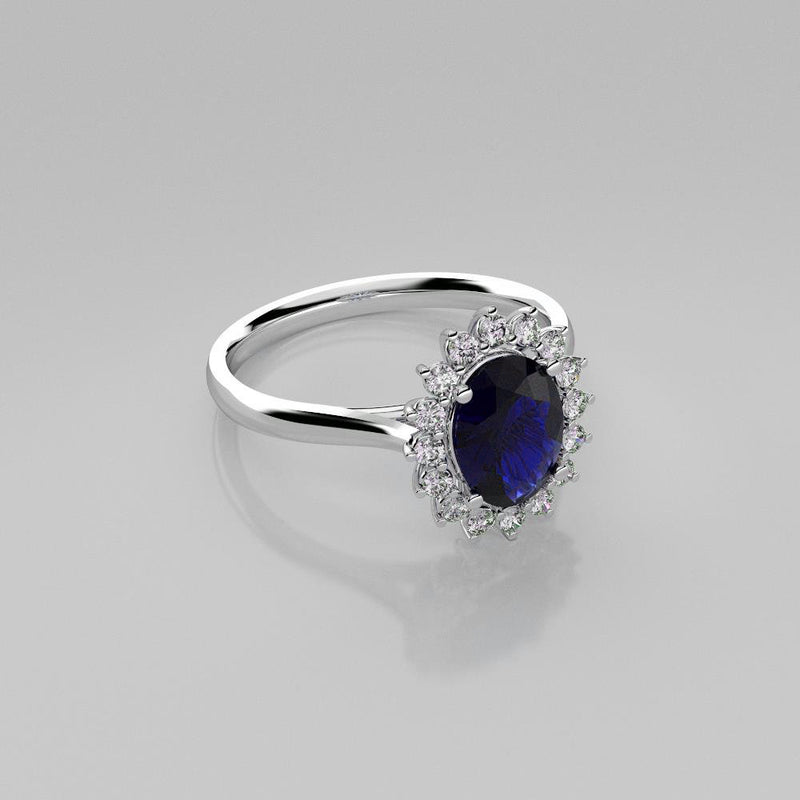 Blue Sapphire and Genuine White Topaz Accents Ring 925 Sterling Silver / Halo-Style