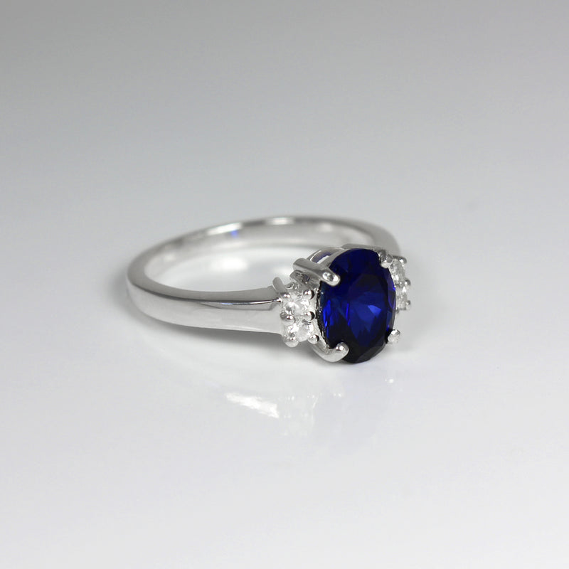 Blue Sapphire Ring Sterling Silver with Accents / Oval-Shaped
