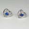 Blue Sapphire Stud Earrings 925 Sterling Silver / Heart-Shaped