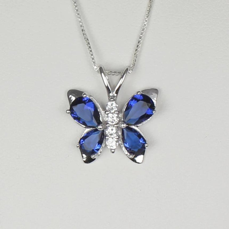 Blue Sapphire and Diamonds Necklace 925 Sterling Silver / Butterfly-Style