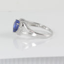 Blue Sapphire Ring 925 Sterling Silver / Heart-Shaped