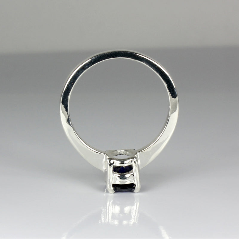 Blue Sapphire Ring 925 Sterling Silver / Oval-Shaped Solitaire