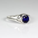 Blue Sapphire 925 Sterling Silver Ring / Round-Shaped