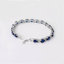 Blue Sapphire Tennis Bracelet 14K White Gold-Filled with Diamond Accents