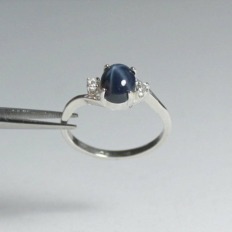 Genuine Blue Star Sapphire Ring 925 Sterling Silver / White Sapphire Accents