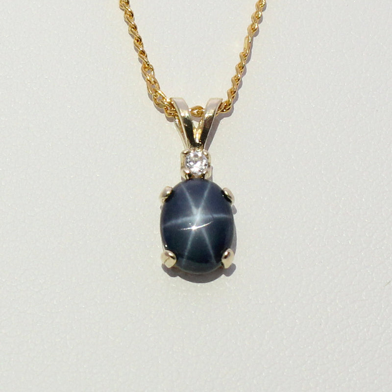 Solid 14K Yellow Gold Genuine Blue Star Sapphire And Accents Necklace / Pendant