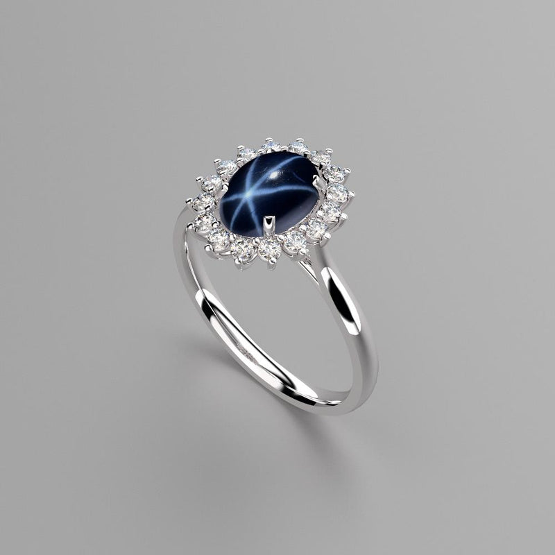 Genuine Blue Star Sapphire Ring 925 Sterling Silver / Halo-Style