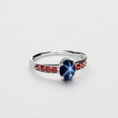 Genuine Blue Star Sapphire Ring Sterling Silver / Garnet Accents