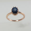 Genuine Blue Star Sapphire Ring Rose Gold / Crown-Style