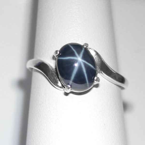 Blue Star Sapphire Ring 925 Sterling Silver / Bypass-Style