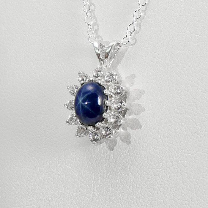 Genuine Blue Star Sapphire Necklace 925 Sterling Silver / Halo-Style