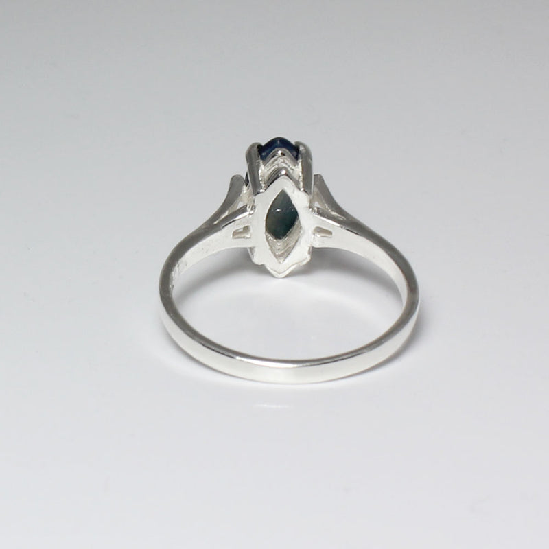 Genuine Blue Star Sapphire Ring 925 Sterling Silver / 2.1 Ct.