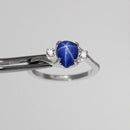 Cornflower Blue Star Sapphire 925 Sterling Silver Ring / Pear-Shaped