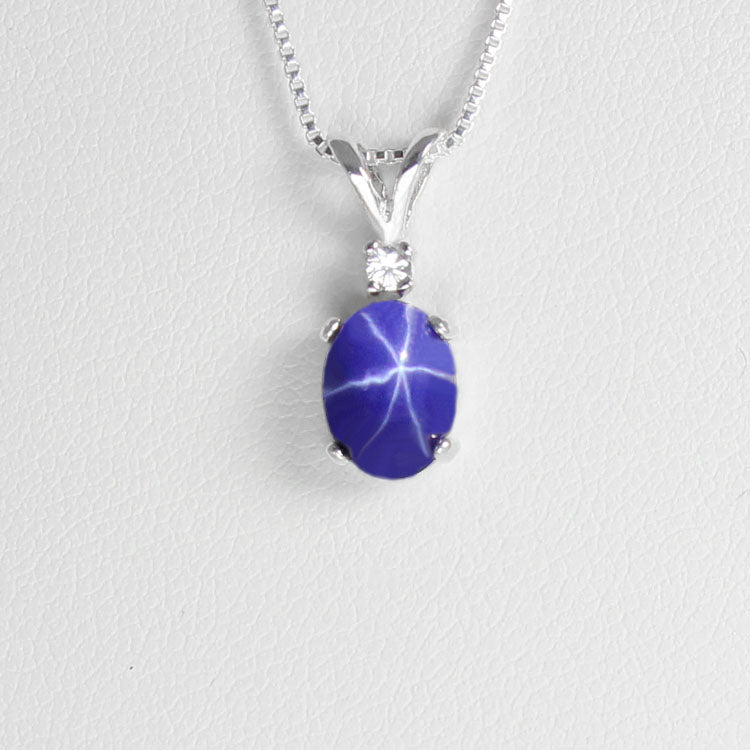Cornflower Blue Star Sapphire Necklace 925 Sterling Silver