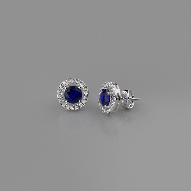 Blue Sapphire and Diamond Stud Earrings / 14K White Gold-Plated