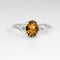 Genuine Golden Citrine and Sapphire Accents Ring 925 Sterling SIlver / Oval-Shaped