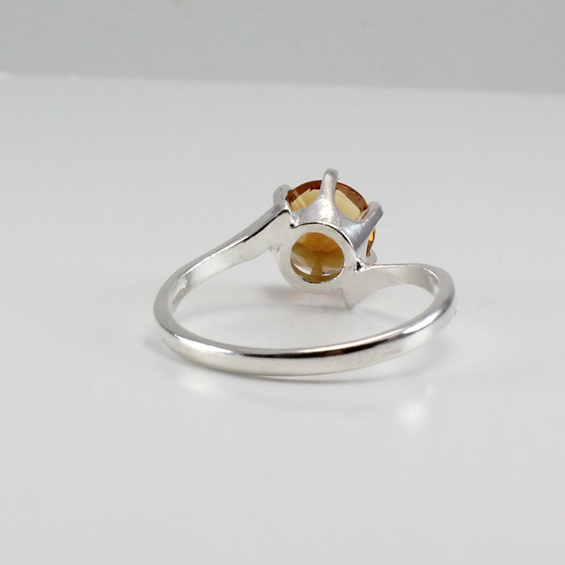 Genuine Golden Citrine Ring 925 Sterling SIlver / Bypass-Style