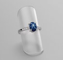 Cornflower Blue Star Sapphire and Topaz Accents Ring 925 Sterling Silver / Bypass-Style