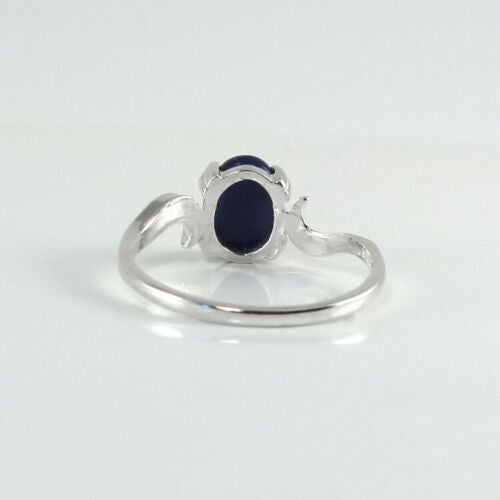 Cornflower Blue Star Sapphire Ring 925 Sterling Silver / Bypass-Style