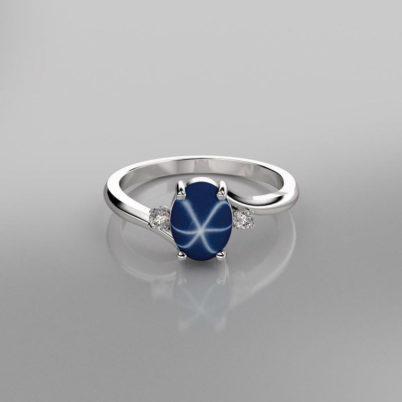 Cornflower Blue Star Sapphire Ring 925 Sterling Silver / Oval-Cut