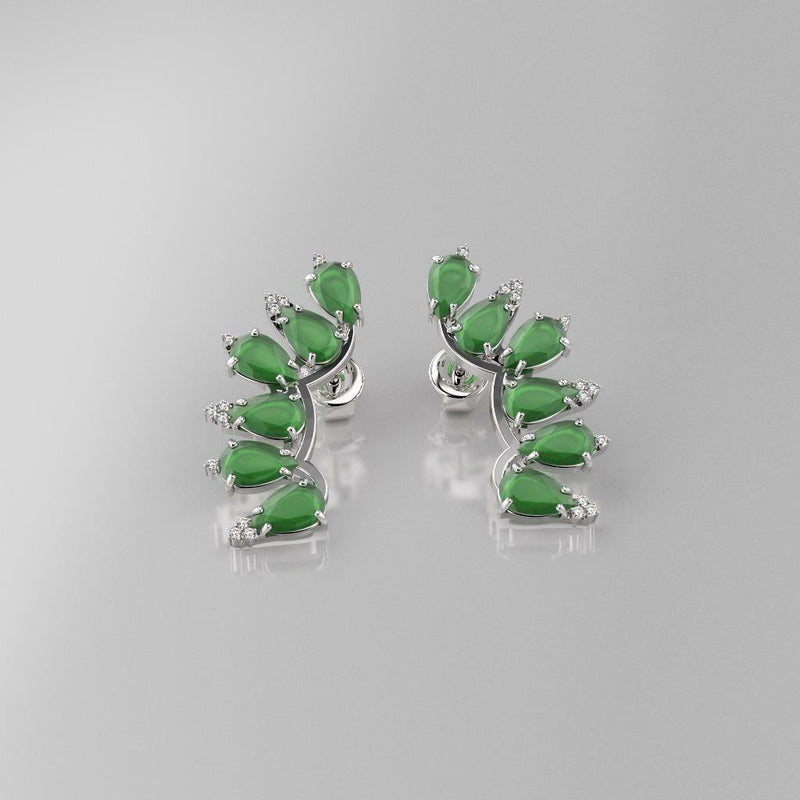 Emerald and Diamond Accents 14K White Gold-Filled Stud Earrings