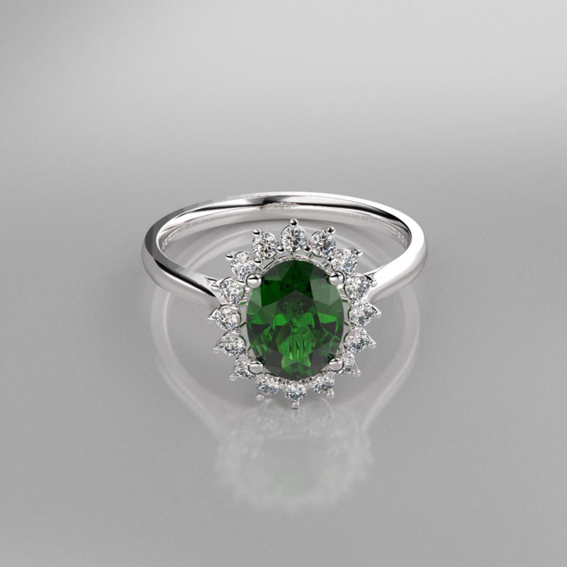 Halo-Style Emerald Ring 925 Sterling Silver / White Topaz Accents