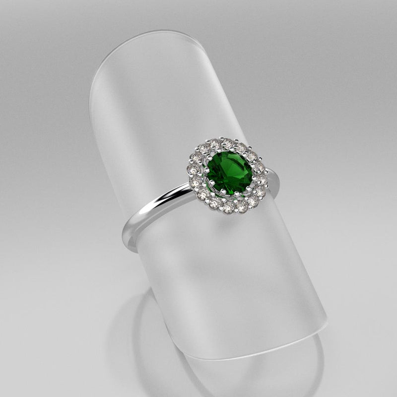 Emerald Ring 925 Sterling Silver / Halo-Style