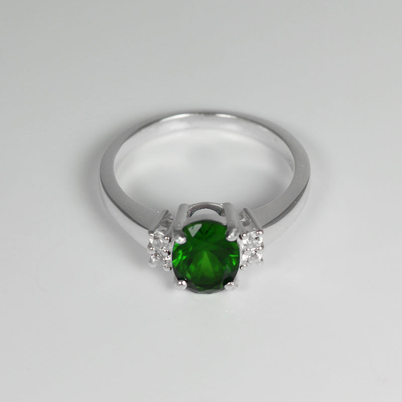 Emerald Ring Sterling Silver with Sapphire Accents / Oval-Shaped