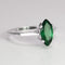 Green Emerald Ring 925 Sterling Silver / Marquise-Shaped