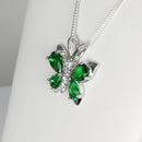 Emerald and Diamonds Necklace 925 Sterling Silver / Butterfly-Style
