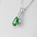 Emerald Necklace 925 Sterling Silver / Pear-Shaped
