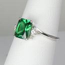 Emerald Ring 925 Sterling Silver / Diamond Accents / 2.1 Ct.
