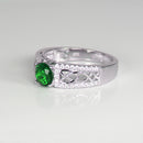 Emerald Ring 925 Sterling Silver / Diamond Accents / Celtic-Style