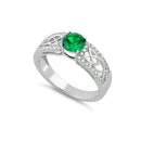 Emerald Ring Sterling Silver 925 / Diamond Accents / Round-Cut