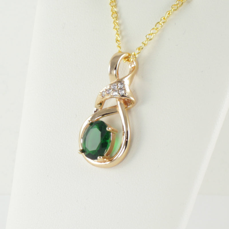 Emerald Necklace 14K Yellow Gold-Filled / Halo-Style