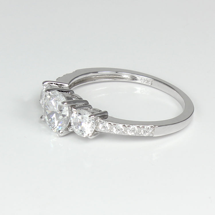 925 Sterling Silver Engagement Ring Set / White CZ