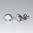 Rainbow Fire Opal Studs Sterling Silver Earrings / Round-Shaped