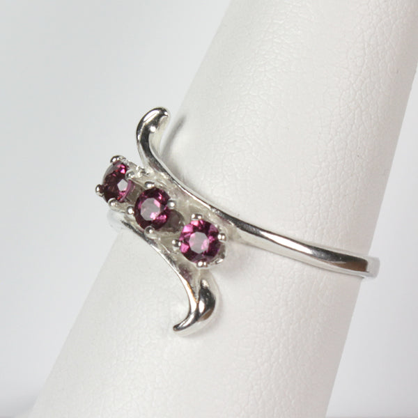 Natural Rhodolite Garnet 925 Sterling Silver Ring / January Birthstone Mother's Ring