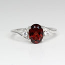 Natural Garnet Ring 925 Sterling Silver / Sapphire Accents