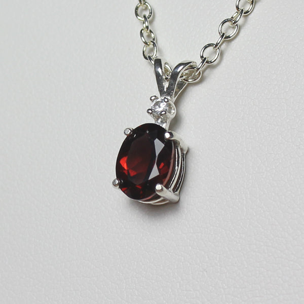Natural Garnet 925 Sterling Silver / Diamond Accent / Oval-Shaped